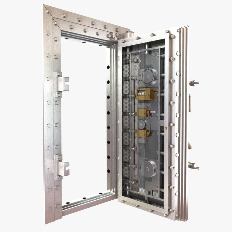 3D vault door bank classic