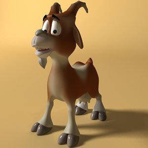 3D model cartoon goat rigged and animated