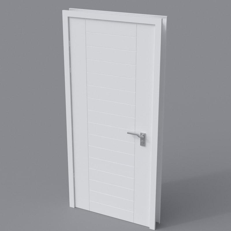 3D door white modern model