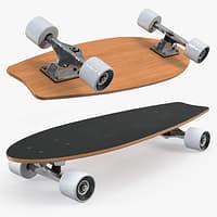 3D fishtail skateboard generic model
