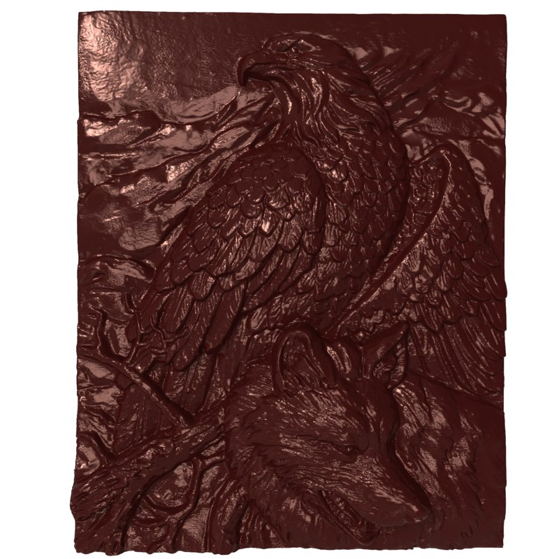 3D bas relief eagle wolf model