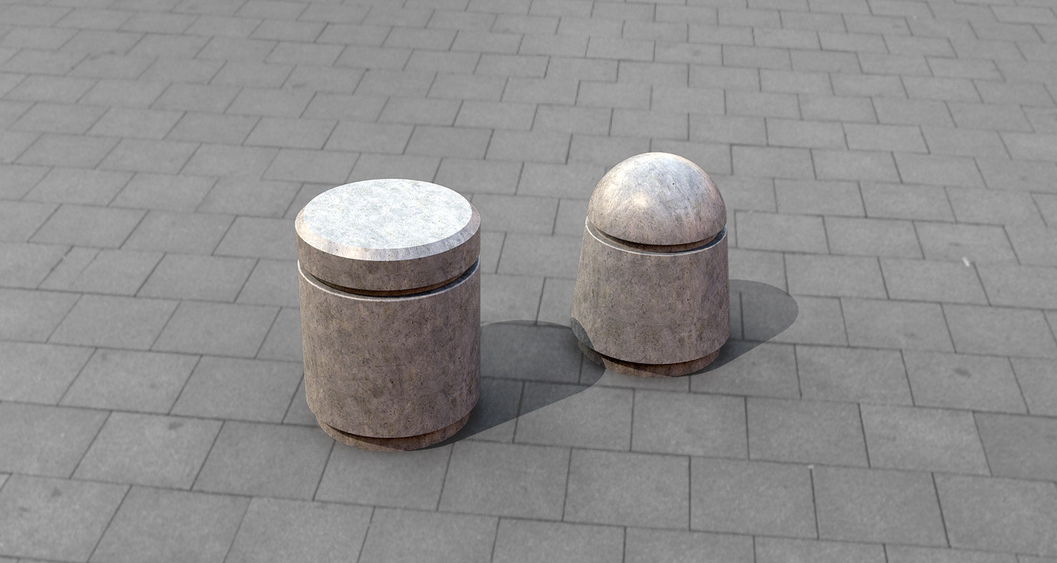 concrete bollards 3D model