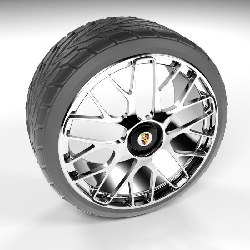 3D car porsche tire