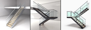 stairs glass wood model
