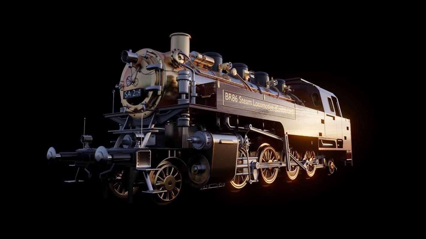 3D br86 steam locomotive animation