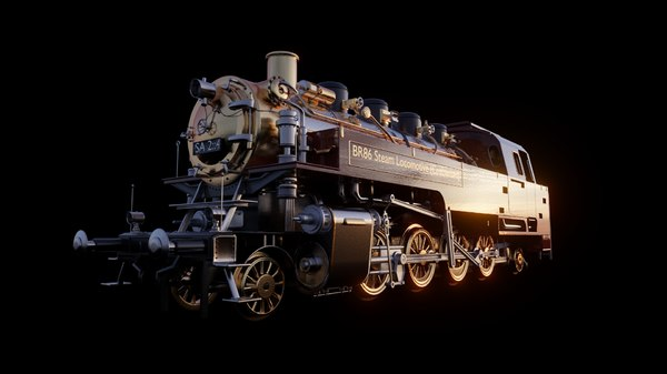 3D br86 steam locomotive animation