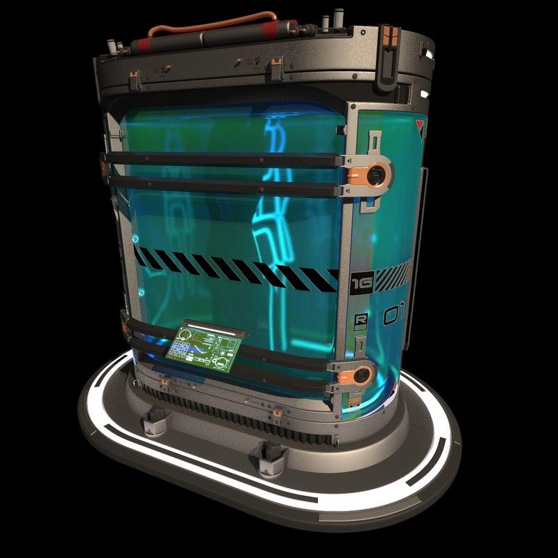 futuristic sci fi cryopod 3D model