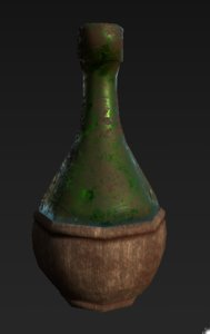 3D old glass wine flask model