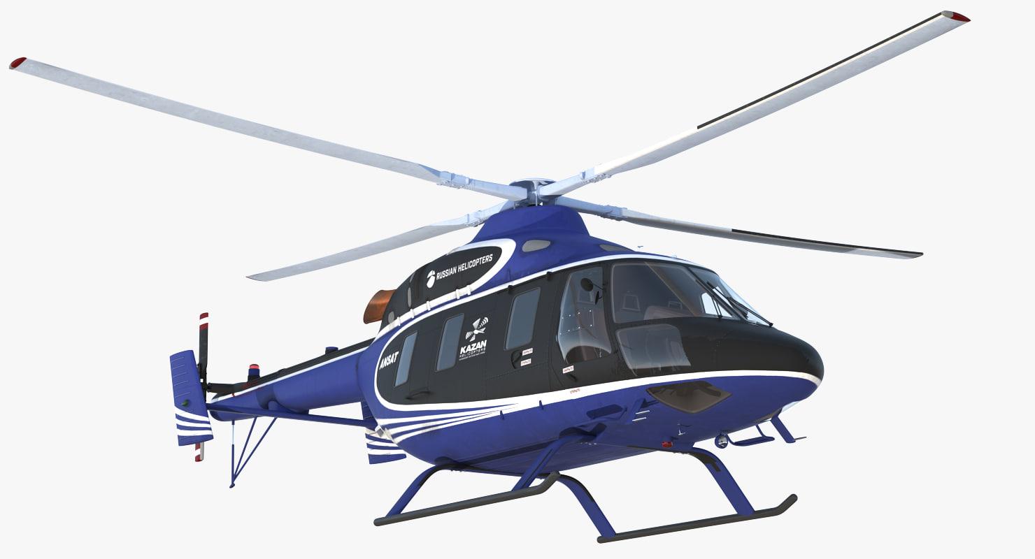 light helicopter kazan ansat 3D model
