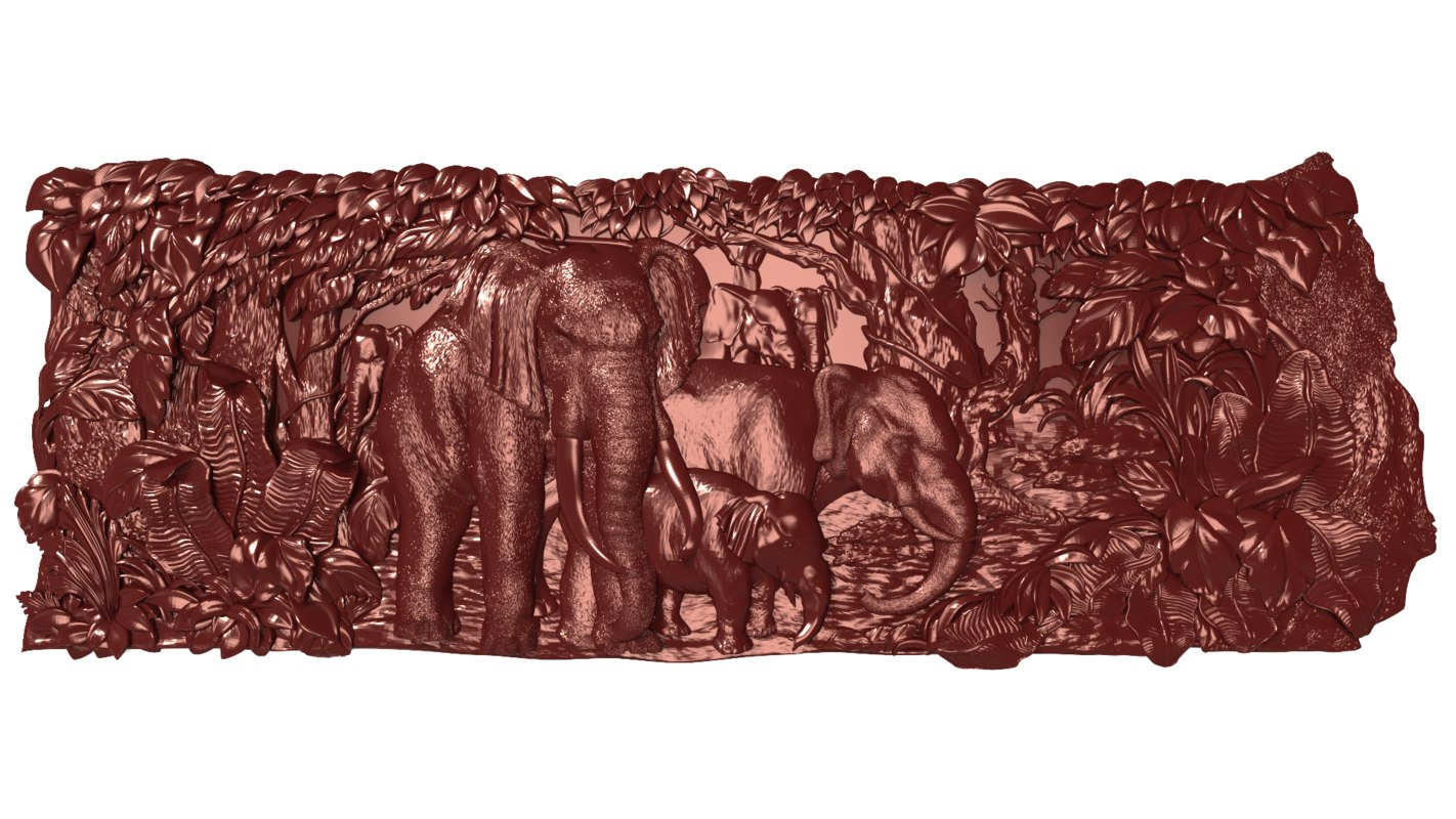 bas relief elephants family model