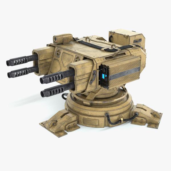 3D science fiction gun turret