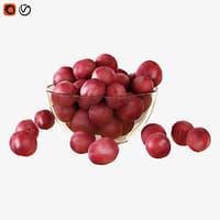 red plums vase 3D model