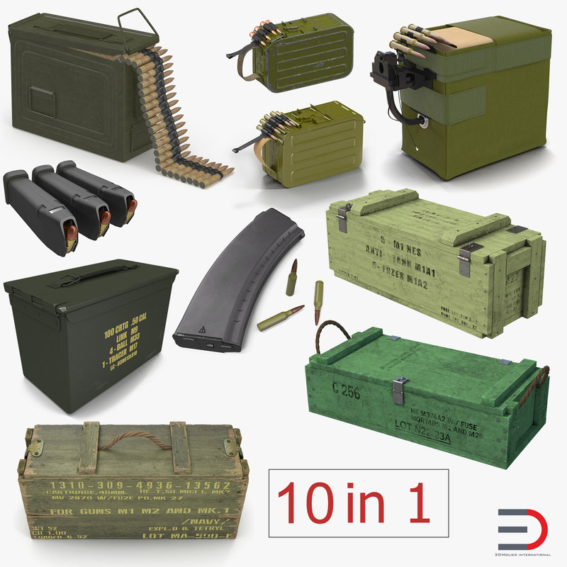 military gun magazines boxes 3D model