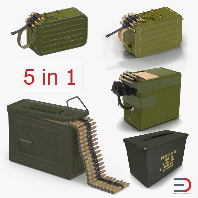 3D machine gun ammunition boxes model
