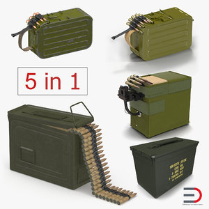 3D machine gun ammunition boxes model