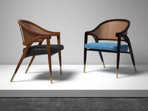 -frame rattan chair 3D model
