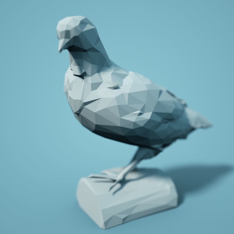 animal realistic faceted 3D model