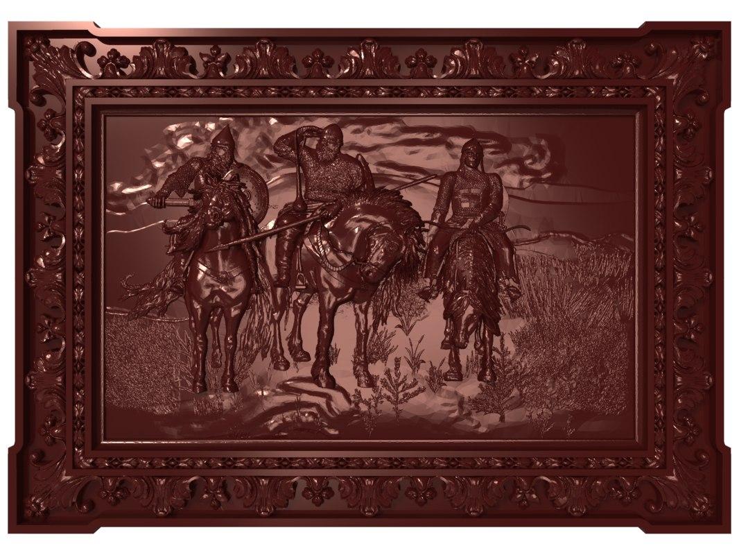 bas relief bogatyrs cnc model
