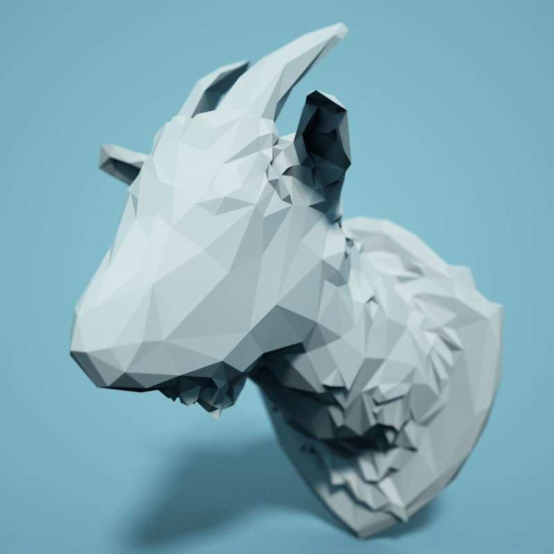 Low Poly Goat Head