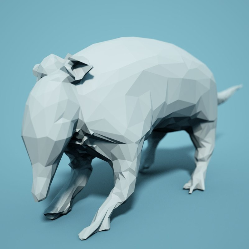 animal realistic faceted 3D