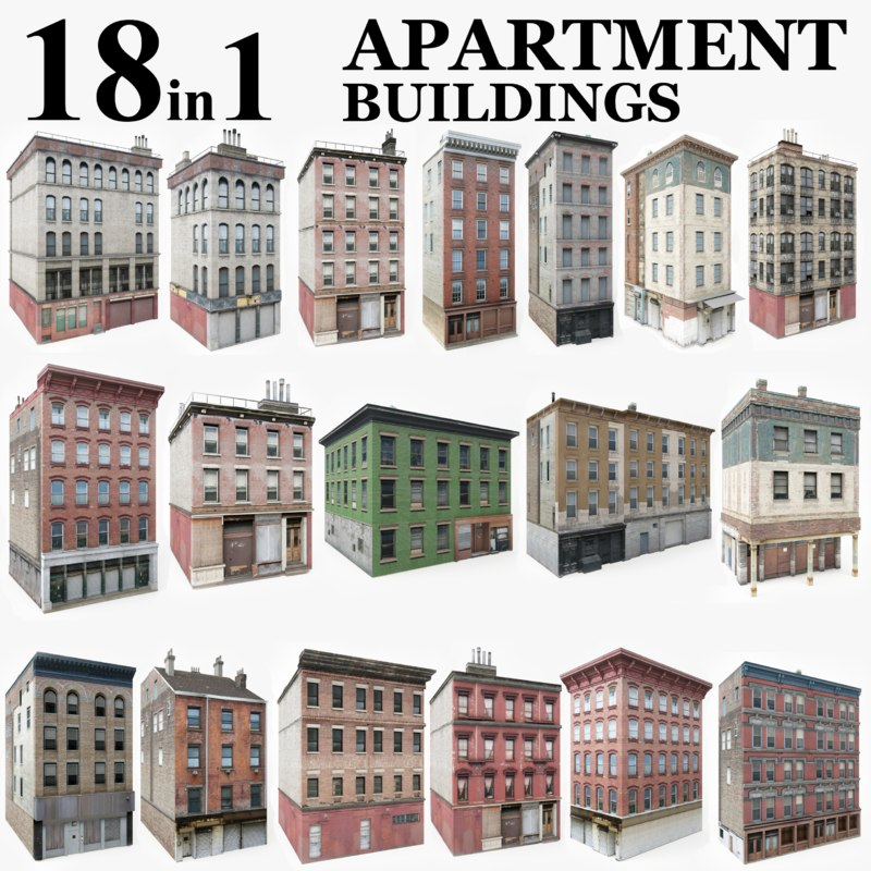 3D 18 apartment city buildings