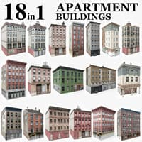 3D 18 apartment city buildings