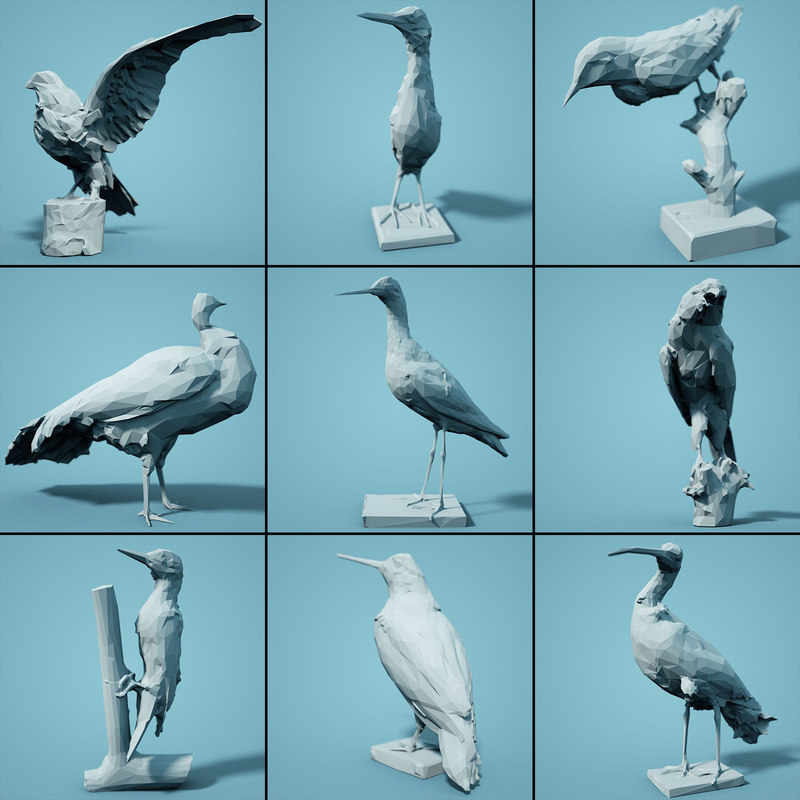 bird realistic faceted model