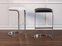 chrome cantilevered bar stool 3D model