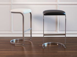 chrome cantilevered bar stool 3D model