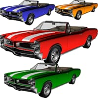 pontiac gto convertible car 3D