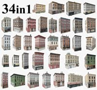 34 apartment city buildings 3D model