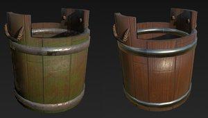 wooden bucket clean 3D model
