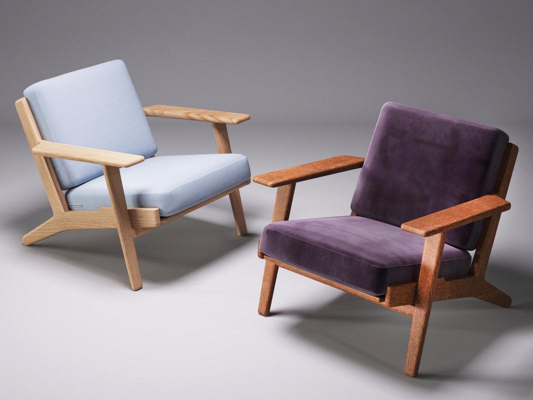 hans wegner plank chair 3D model