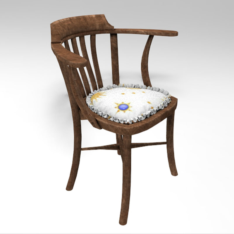 old ottoman chair 3D model