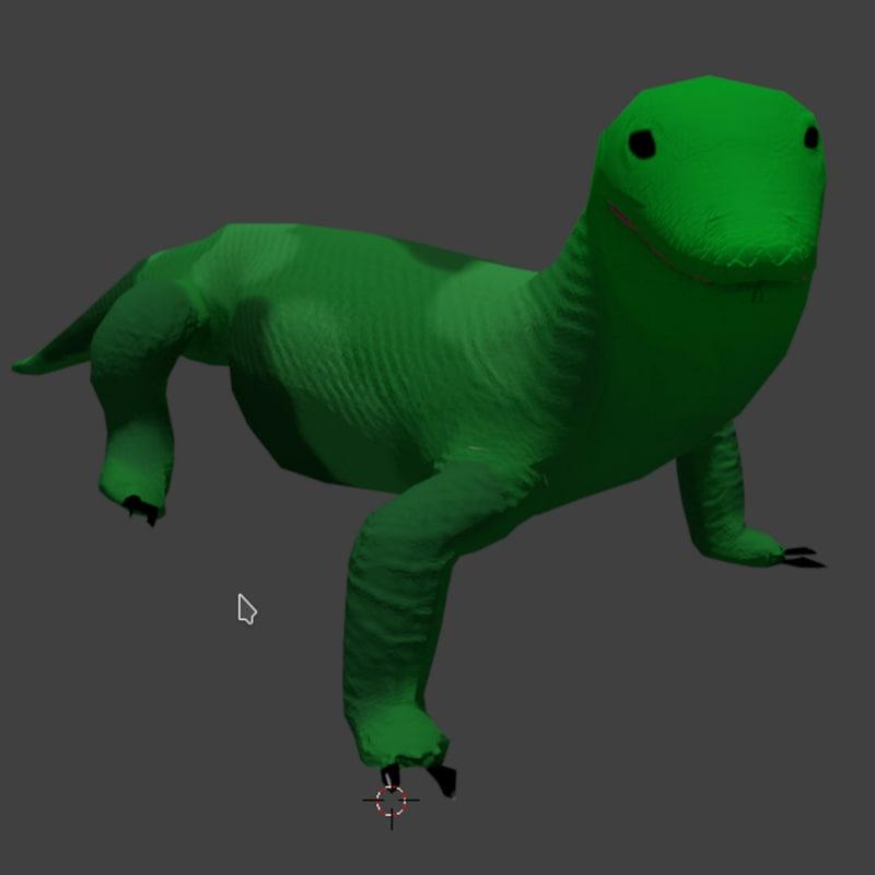 3D rigged komodo dragon
