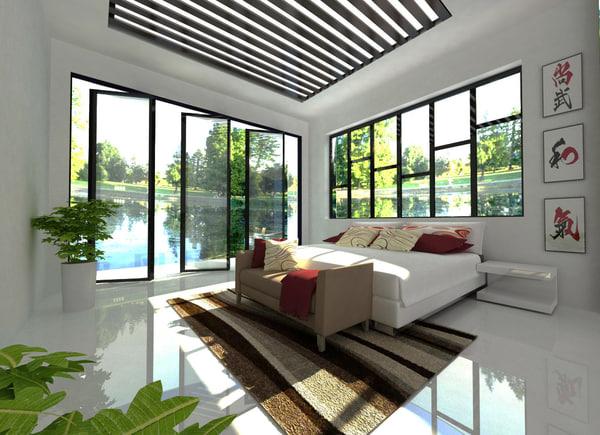 3D bedroom room modern
