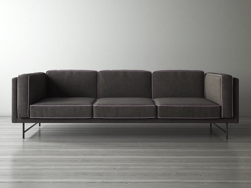 3D model bank sofa 3 seater