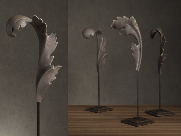 cast acanthus leaves stands 3D