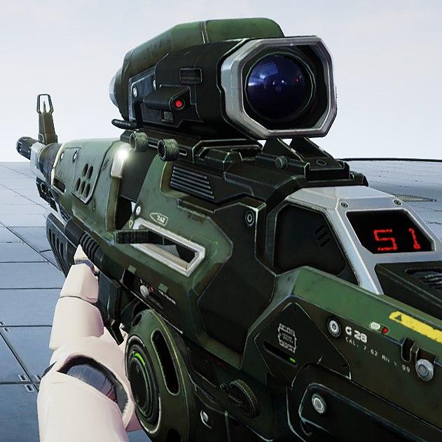 3D sci-fi assault rifle - model