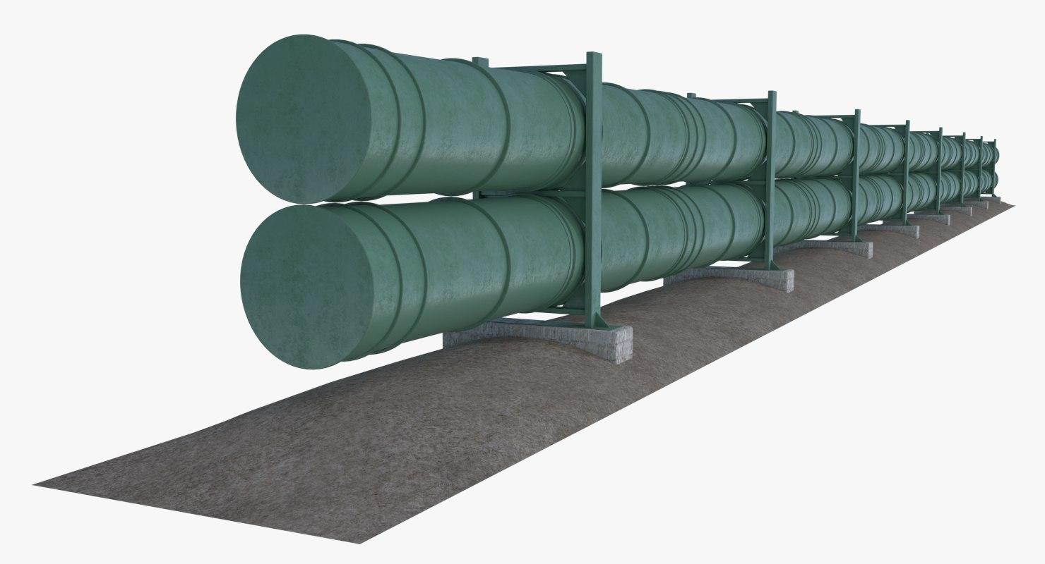 oil natural gas pipeline 3D model