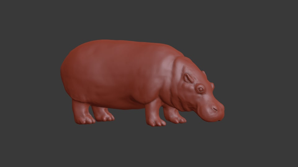 3D sculpture hippo