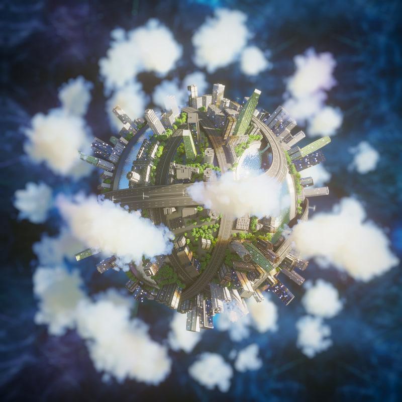 city planet renderer 3D model