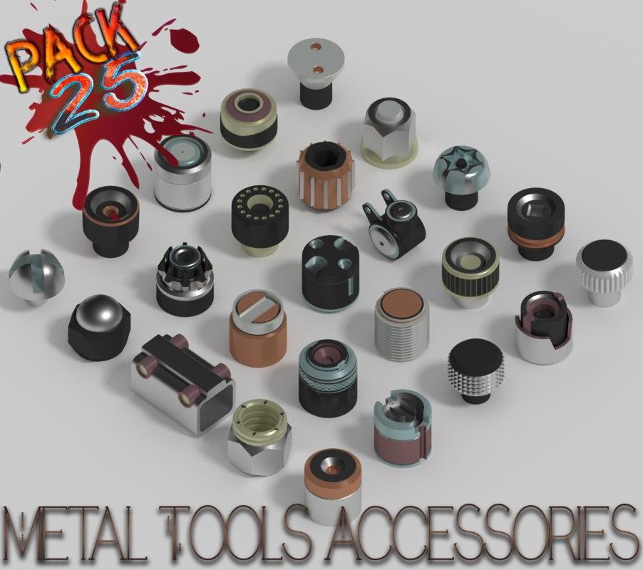 3D model metal tools accessories