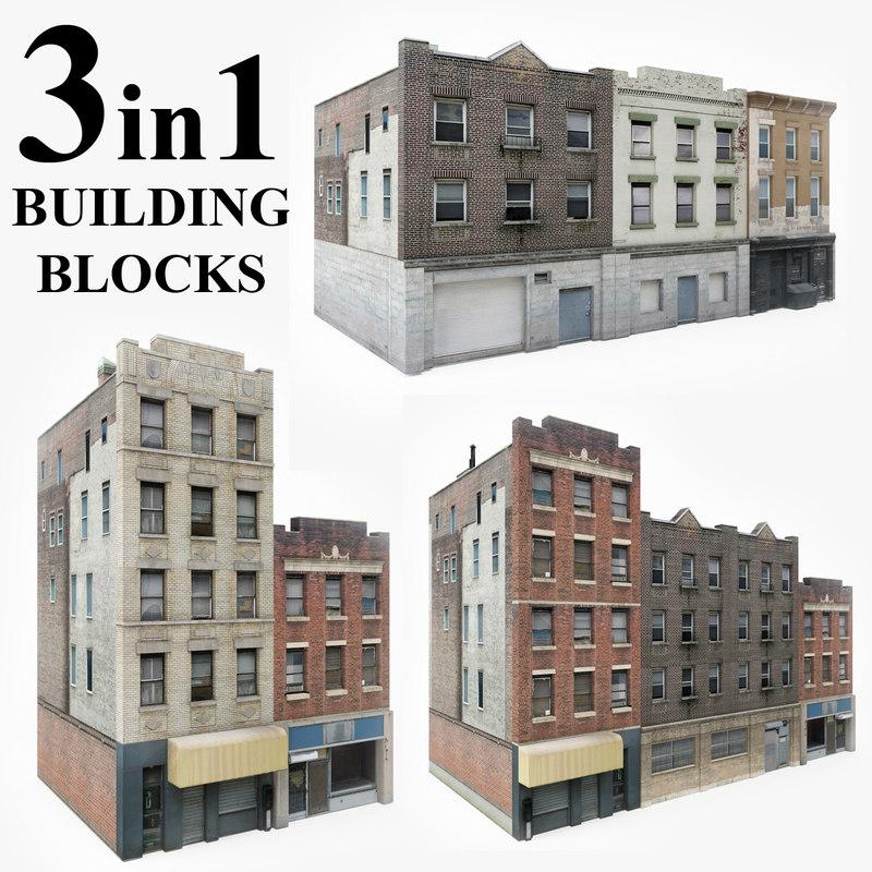 3 apartment buildings blocks 3D model