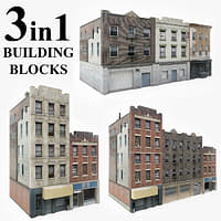 3 apartment buildings blocks 3D model