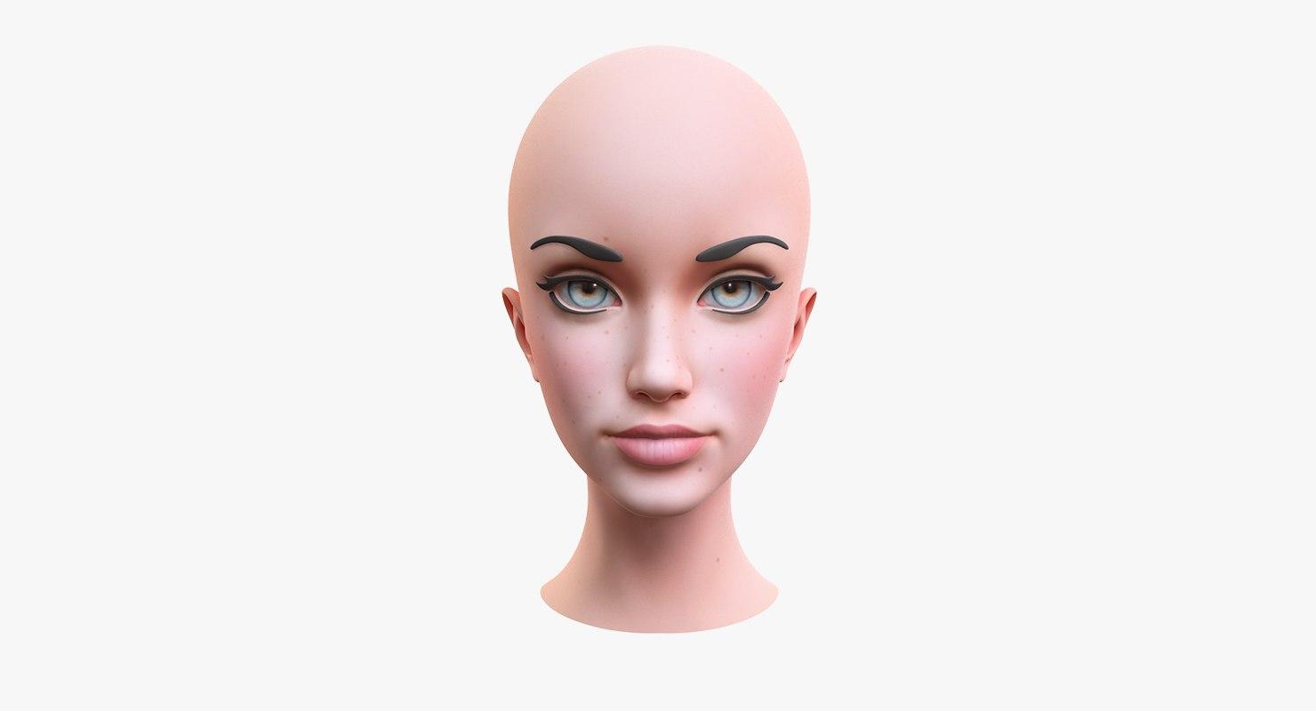 stylized female head 2 3D model