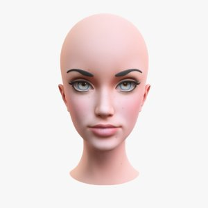 stylized female head 2 3D model