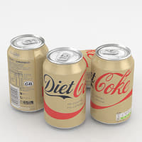 3D beverage coke diet
