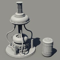 Sci-fi asset with container - high-poly