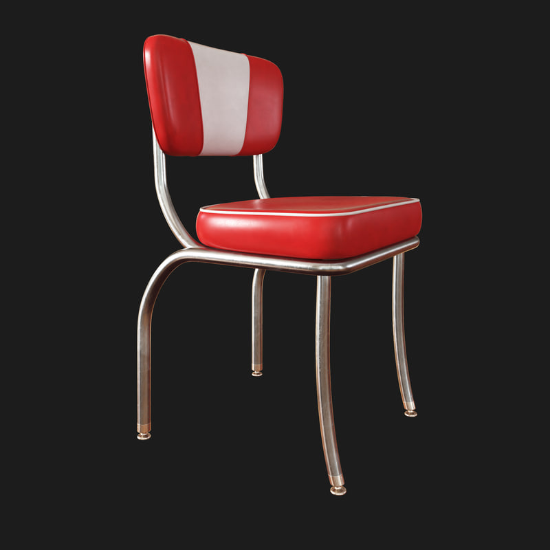 3D retro diner chair